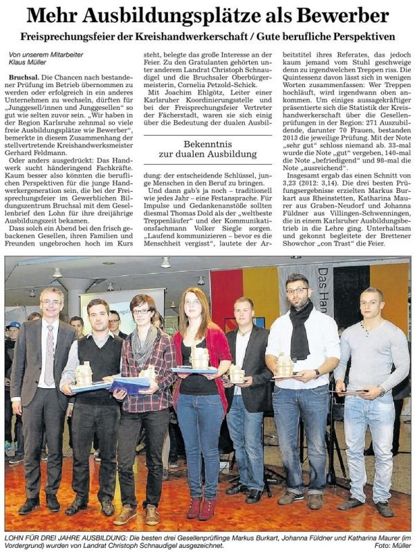 Freisprechungsfeier der Kreishandwerkerschaft 2013 (BNN)